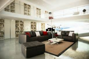 black white brown living room mezzanine interior design ideas