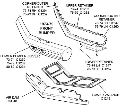 1980 Honda Accord Belt Diagram by 1973 79 Front Bumper Diagram View Chicago Corvette Supply