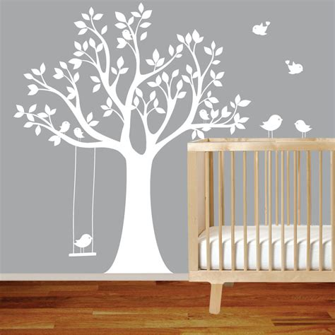 Classic Baby Room Decor With White Vinyl Tree Wall Decal