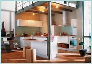Cuisine amenagee sous mezzanine et ouverte sur salon for Idee deco cuisine avec cuisine Équipée et aménagée