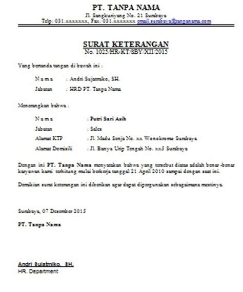Contoh Surat Izin Sekolah Atas Nama Sendiri by Contoh Surat Keterangan Berkerja Untuk Karyawan Cara