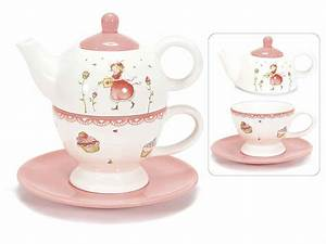 Théière Et Tasse : set th i re et tasse de ceramique fraise avec soucoupe art from italy ~ Teatrodelosmanantiales.com Idées de Décoration