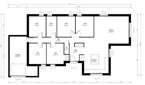 plan maison plain pied 5 chambres plan maison individuelle 5 chambres 79 habitat concept