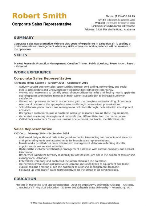 Narrative Resume Sles by Corporate Sales Representative Resume Sles Qwikresume