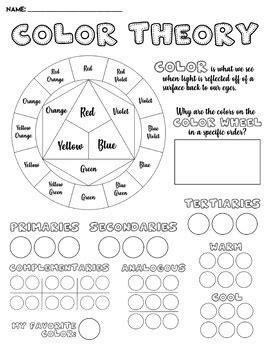 color theory worksheet color theory worksheet by white bison studios teachers