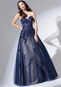 Ball Gown Strapless Sweetheart Long Navy Blue Tulle Lace ...