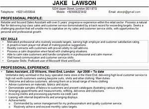sales assistant cv sample With sales cv template uk