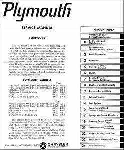 1966 Plymouth Repair Shop Manual Original