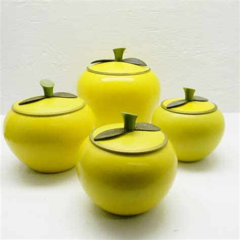 apple canisters for the kitchen vintage apple canisters set of 4 apple shaped aluminum