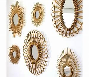 Miroir En Rotin : petit miroir vintage soleil rotin bakker ~ Nature-et-papiers.com Idées de Décoration