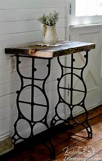 antique sewing machine table Antique Sewing Machine Table into Rustic Side Table ...