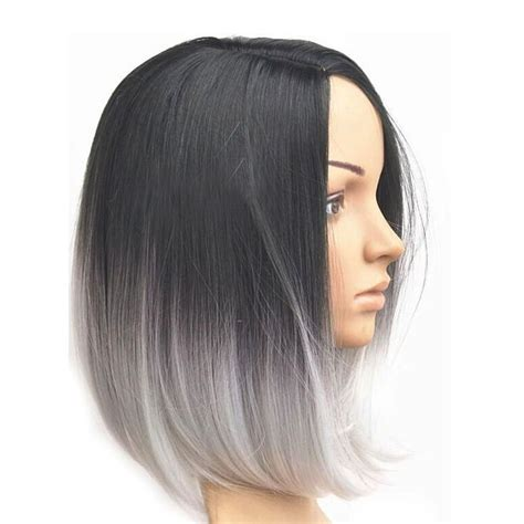 womens ombre grey style short bob synthetic hair lace front heat resistant wigs hairstyles