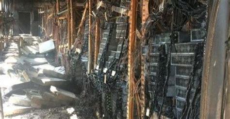 fire  bitcoin  destroys millions  equipment data