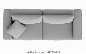 modern fabric sofa , 2 seat , top view , isolated on white ...