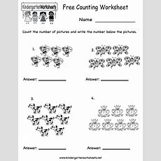 Kindergarten Free Counting Worksheet Printable  Counting Numbers, Colors, Shapes And Writing