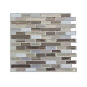 smart tiles 9 125 in x 10 25 in muretto durango mosaic decorative wall tile in brown 6 pack