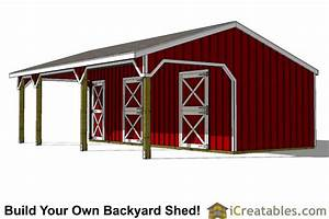 2 stall horse barn plans with lean to and tack room With 2 stall horse barn with tack room