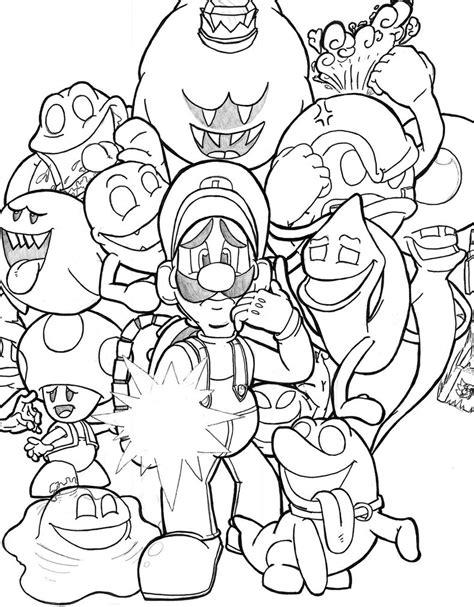 Kleurplaat Luigi Mansion luigis mansion moon free coloring pages