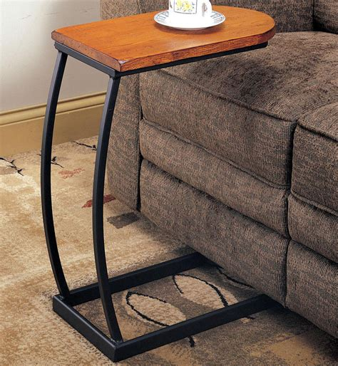 Curved Floor Lamp Base by Distressed Oak Snack Table With Black Metal Base Console