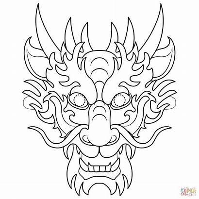Dragon Chinese Mask Coloring Printable Drawing Colorear