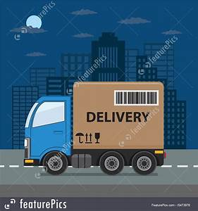Delivery Truck On City Background