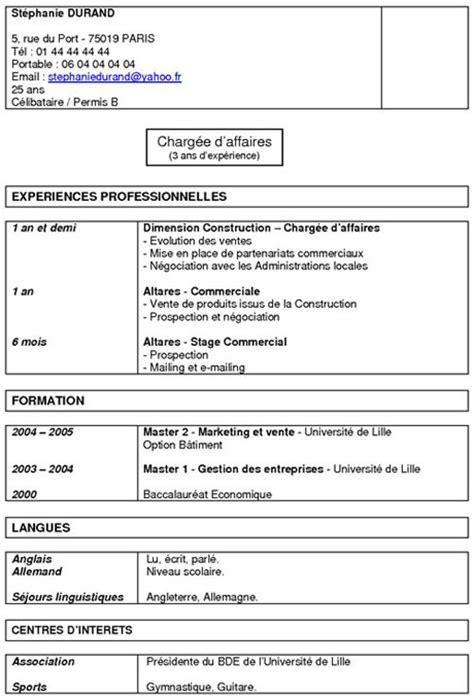 Rédiger Un Cv Exemple by Exemples De Cv Fonctionnel