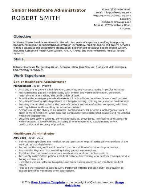 healthcare administrator resume sles qwikresume