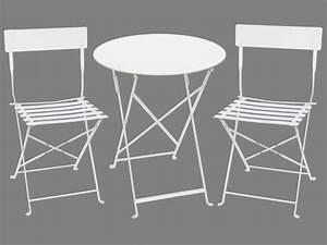 Table De Jardin Blanche : salle manger de jardin en m tal une petite table et 2 chaises blanc canebiere ~ Teatrodelosmanantiales.com Idées de Décoration