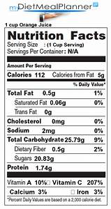Calories in 1 cup Orange Juice Nutrition Facts for 1 cup