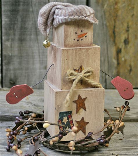 diy primitive snowman shelf sitter factory direct craft blog