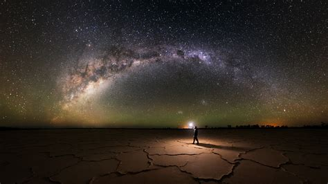 Nature Landscape Salt Lakes Milky Way Starry Night