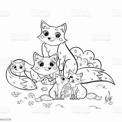 Coloring Fox Cartoon Animals Forest Outline Foxes