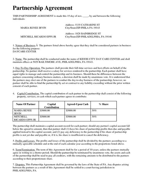 Mou Partnership Agreement Template by Partnership Agreement Free Printable Documents