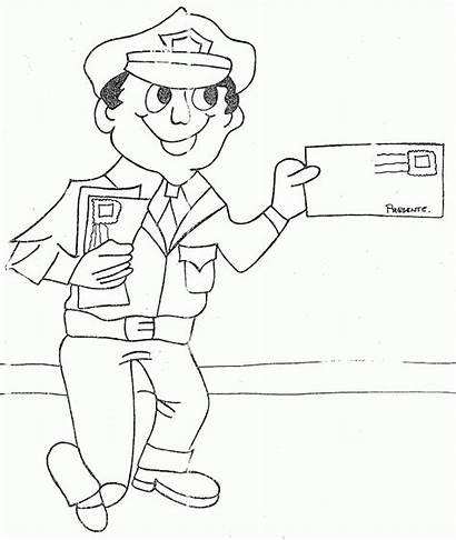 Coloring Mailman Colorear Cartero Dibujos Mail Carrier