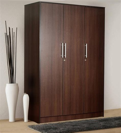 Buy Wooden Wardrobe by Buy Yuina Three Door Wardrobe In Wenge Finish By Mintwud