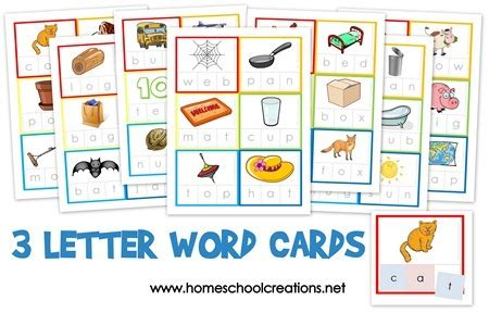 3 letter words for three letter word cards free printable