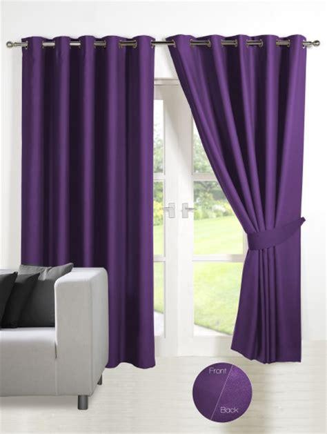 energy saving thermal blackout eyelet curtains purple