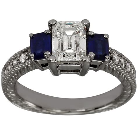 deco style emerald cut engagement ring with emerald cut sapphires ebay