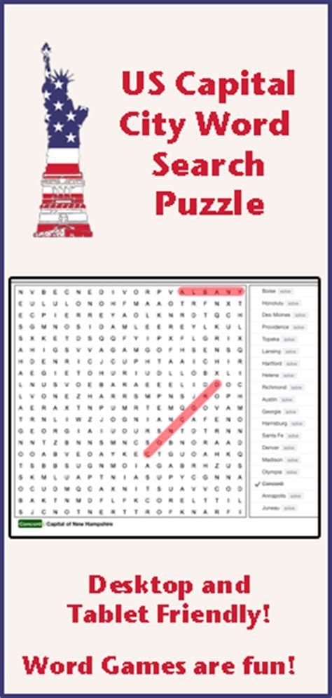Word Search Puzzle: US Capital Cities