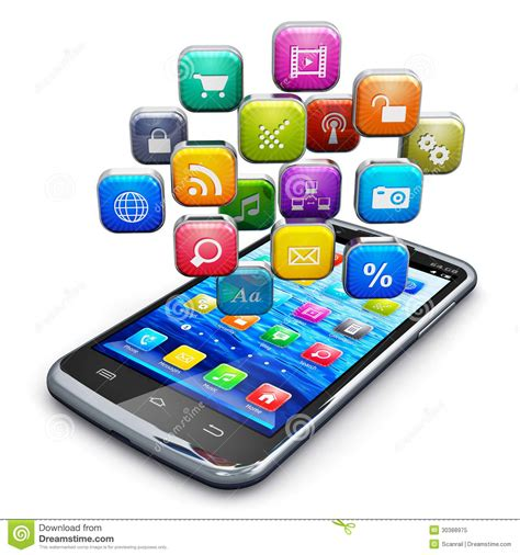 black modern smartphone with application icons on the smartphone with cloud of icons stock illustration image