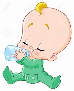 Baby clipart drinking bottle - Pencil and in color baby ...