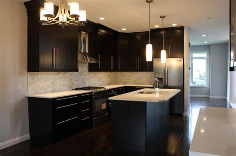 modern kitchen sinks marda loop kitchen espresso flat veneer slab modern 4225