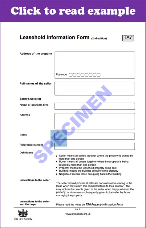 ta leasehold information form