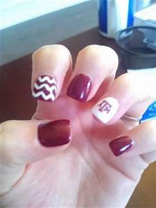 Cute Football Nail Designs Football Aggie Nail Designs Texas A M Nails Gig 39 Em Nails