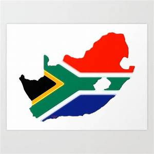 South Africa Map With South African Flag Art Print By Havocgirl
