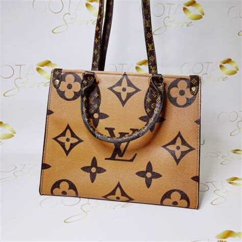 lv city steamer mm patchwork purse dark light brown leather womens large tote bag gota store