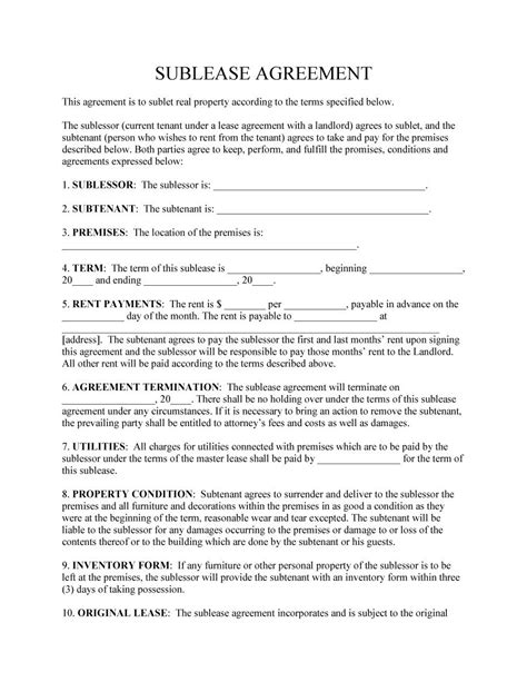 Commercial Sublet Lease Agreement Template by 40 Professional Sublease Agreement Templates Forms