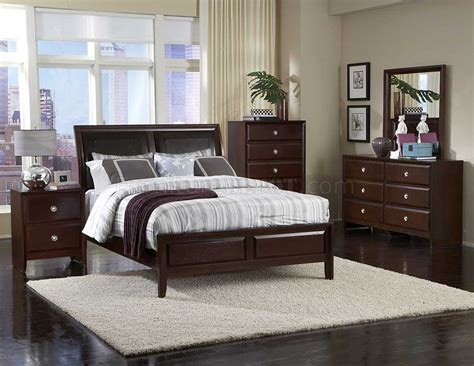 Dark Cherry Finish Contemporary Bedroom W/optional Items