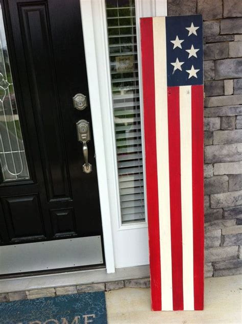 large american flag sign rustic wood flag