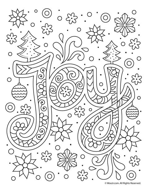 christmas joy typography coloring page art journal art